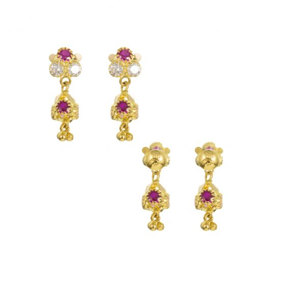 22ct Yellow Gold Earrings – Jhumka Style With CZ Stones 27