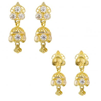 22ct Yellow Gold Earrings – Jhumka Style With CZ Stones 28