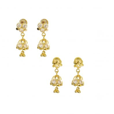 22ct Yellow Gold Earrings – Jhumka Style With CZ Stones 29
