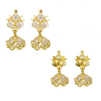 22ct Yellow Gold Earrings – Jhumka Style With CZ Stones 30