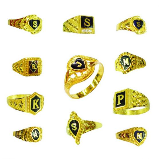 22ct Yellow Gold & Enamel Men's Rings – Mixed Designs / Initials Bundle 01