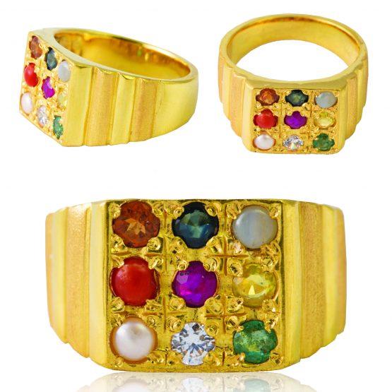 22ct Yellow Gold Men's Ring - Navaratna / Square Design 01
