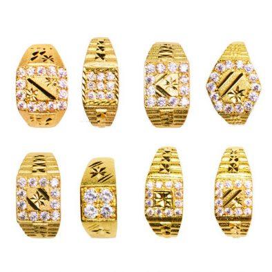22ct Yellow Gold & CZ Stones Men's Large Rings – Mixed Design Bundle 01