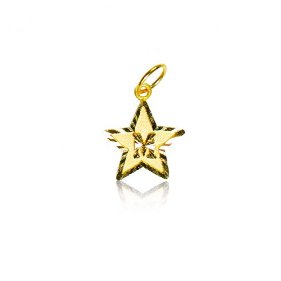 22ct Yellow Gold Initial Pendant – Star Shape 01