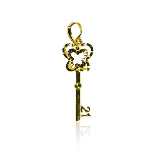 22ct Yellow Gold Pendant – 21st Birthday Key Shape 03