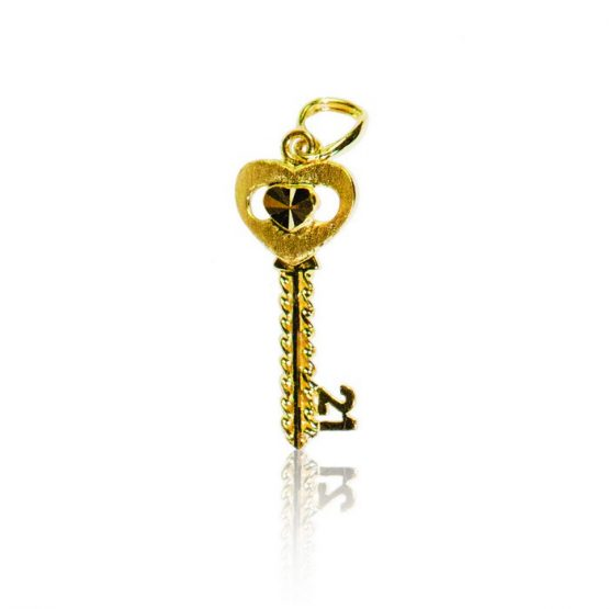22ct Yellow Gold Pendant – 21st Birthday Key Shape 04