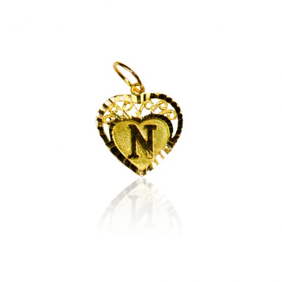 22ct Yellow Gold Initial Pendant – Heart Shape 01
