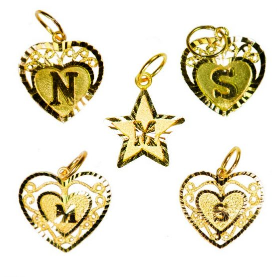 22ct Yellow Gold Initial Pendants – Mixed Shapes Bundle 01