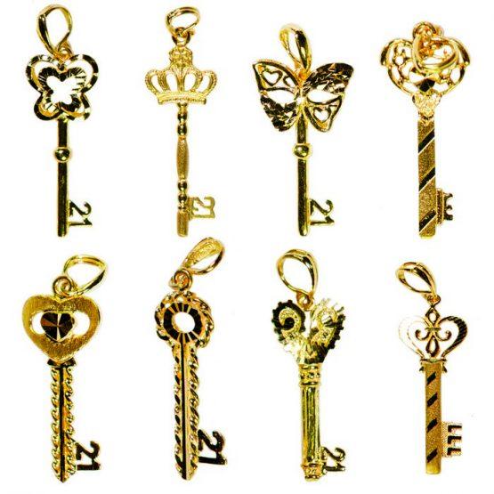 22ct Yellow Gold Pendants – 21st Birthday Key Shape Bundle 01