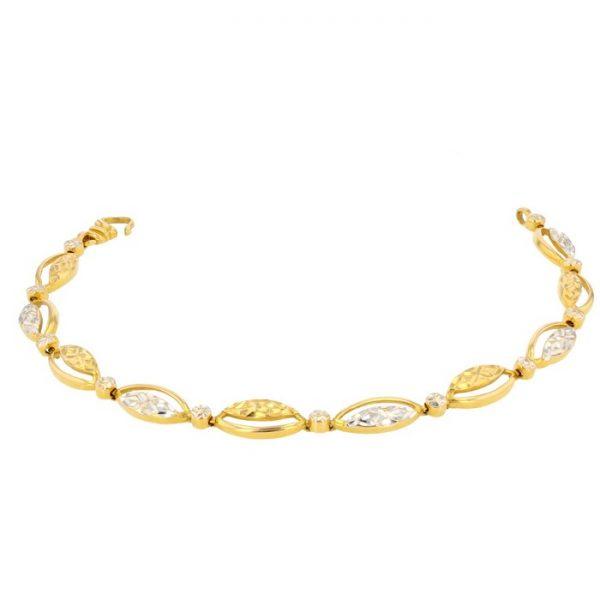 Ladies Bracelet 22ct Yellow Gold & Rhodium 12