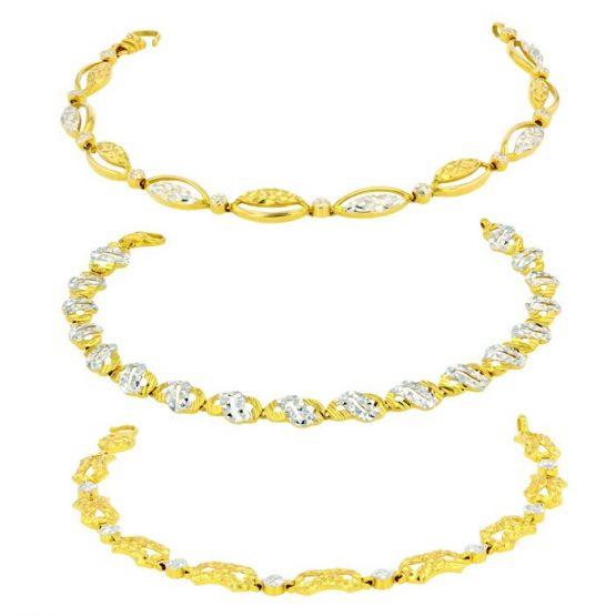 Ladies Bracelets 22ct Yellow Gold & Rhodium Bundle 03