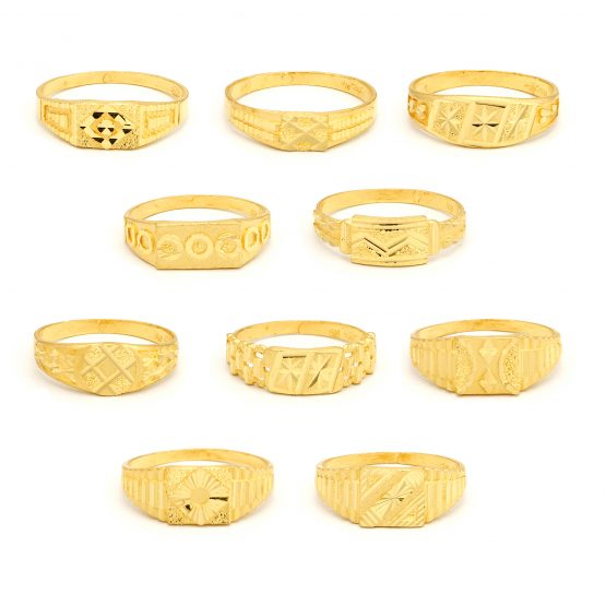 22ct Yellow Gold Men's Small Rings – Mixed Design Bundle 01