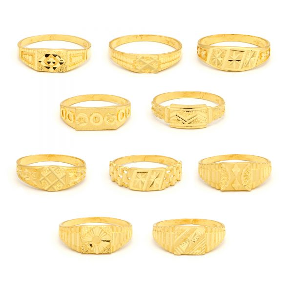 22ct Yellow Gold Men's Small Rings – Mixed Design Bundle 01