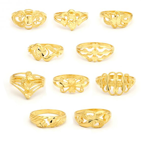 22ct Yellow Gold Ladies Rings - Mixed Design Bundle 01