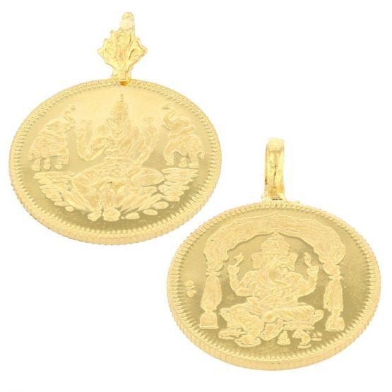 22ct Yellow Gold Thali Mugappu - Coin Design 01