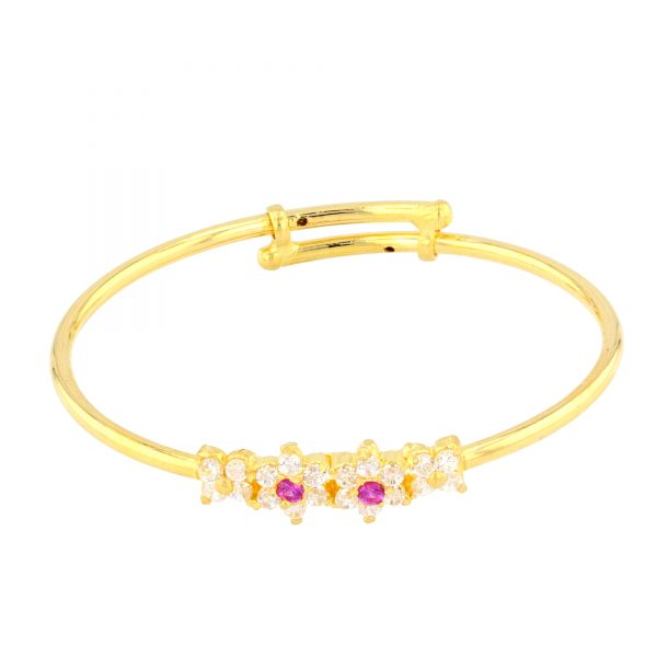 22ct Yellow Gold & CZ Stones Baby Girl Bangle (Adjustable) 08