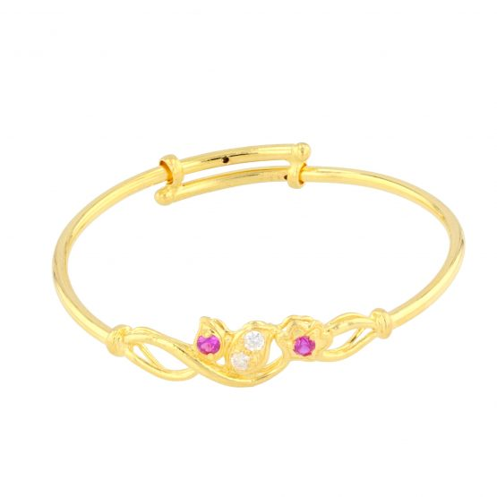 22ct Yellow Gold & CZ Stones Baby Girl Bangle (Adjustable) 07