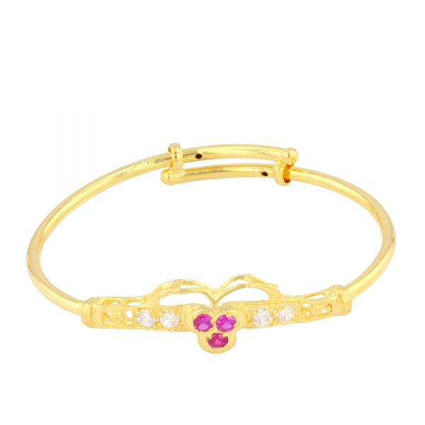 22ct Yellow Gold & CZ Stones Baby Girl Bangle (Adjustable) 06