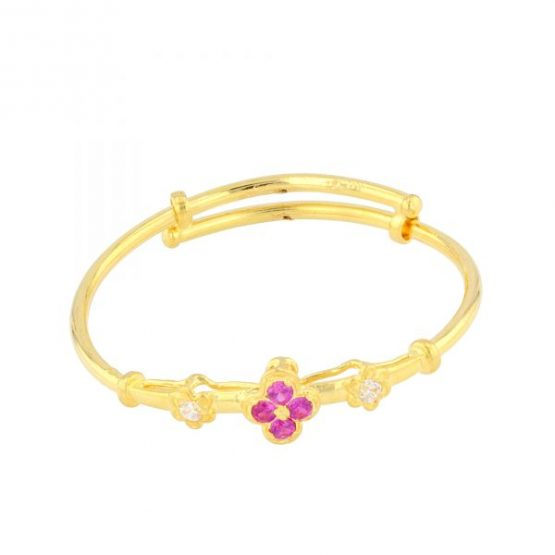 22ct Yellow Gold & CZ Stones Baby Girl Bangle (Adjustable) 05