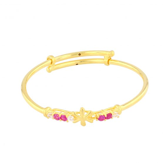 22ct Yellow Gold & CZ Stones Baby Girl Bangle (Adjustable) 04