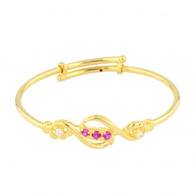 22ct Yellow Gold & CZ Stones Baby Girl Bangle (Adjustable) 03