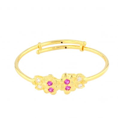 22ct Yellow Gold & CZ Stones Baby Girl Bangle (Adjustable) 02