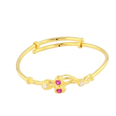 22ct Yellow Gold & CZ Stones Baby Girl Bangle (Adjustable) 01