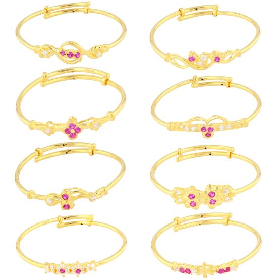 22ct Yellow Gold & CZ Stone Baby Girl Bangles (Adjustable) - Mixed Design Bundle 01