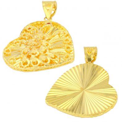 22ct Yellow Gold Ladies Heavy Pendant – Fancy Design / Heart Shape 01