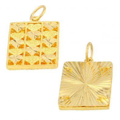 22ct Yellow Gold Ladies Heavy Pendant – Fancy Design / Rectangle Shape 01