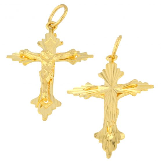 22ct Yellow Gold Pendant – Christian Cross / Crucifix Design 03