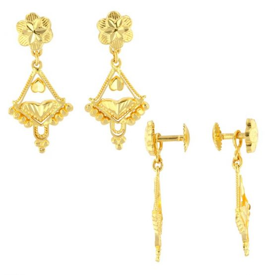 22ct Yellow Gold Hanging Earrings - Screw Back Post 01