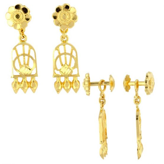 22ct Yellow Gold Hanging Earrings – Screw Back Post 02