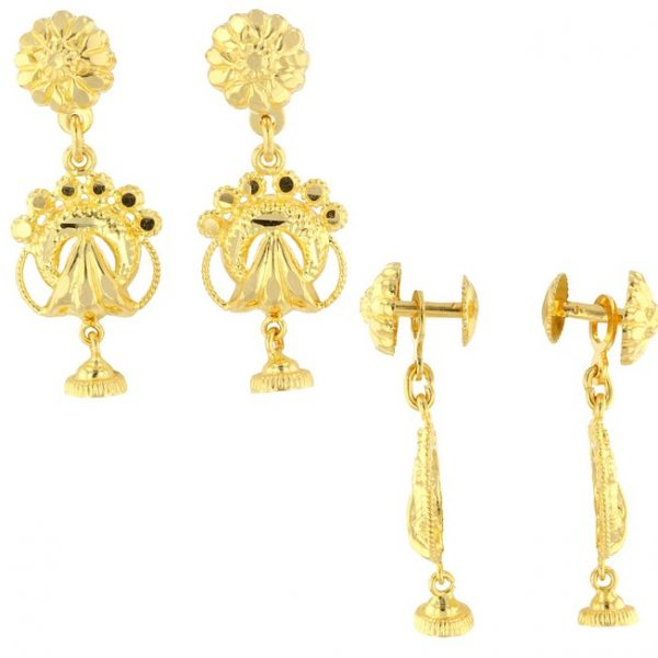 22ct Yellow Gold Hanging Earrings – Screw Back Post 03