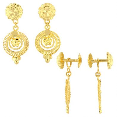22ct Yellow Gold Hanging Earrings – Screw Back Post 04