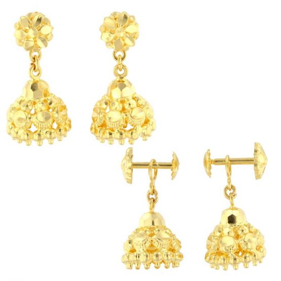 22ct Yellow Gold Hanging Earrings – Screw Back Post 05