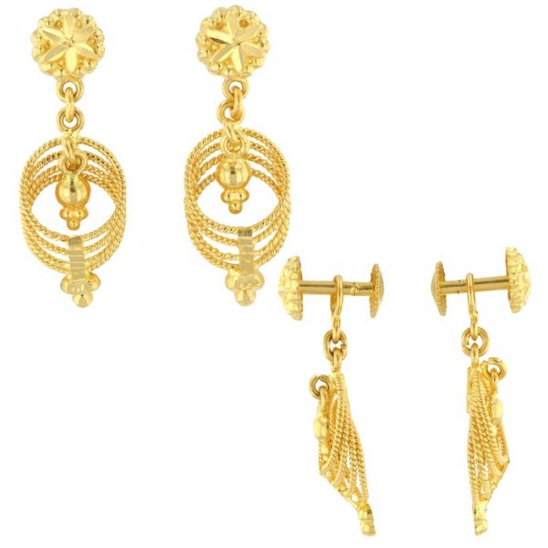 22ct Yellow Gold Hanging Earrings – Screw Back Post 07