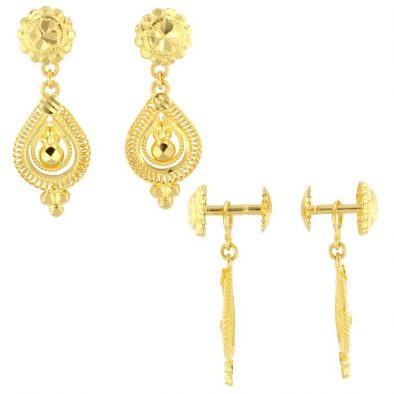 22ct Yellow Gold Hanging Earrings – Screw Back Post 08