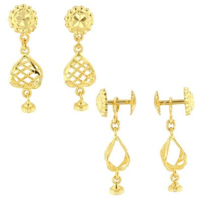 22ct Yellow Gold Hanging Earrings – Screw Back Post 09