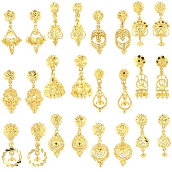 22ct Yellow Gold Hanging Earrings Bundle 01