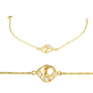 Ladies Bracelet Fancy Design 22ct Yellow Gold With CZ Stone 01
