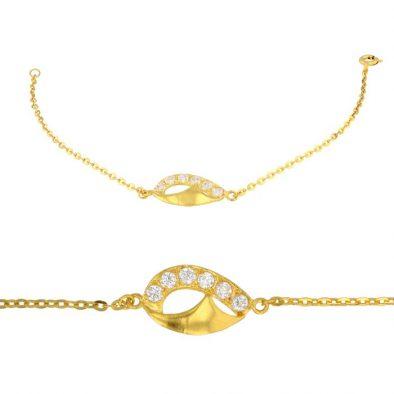 Ladies Bracelet Fancy Design 22ct Yellow Gold With CZ Stone 02