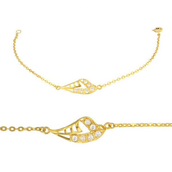 Ladies Bracelet Fancy Design 22ct Yellow Gold With CZ Stone 03