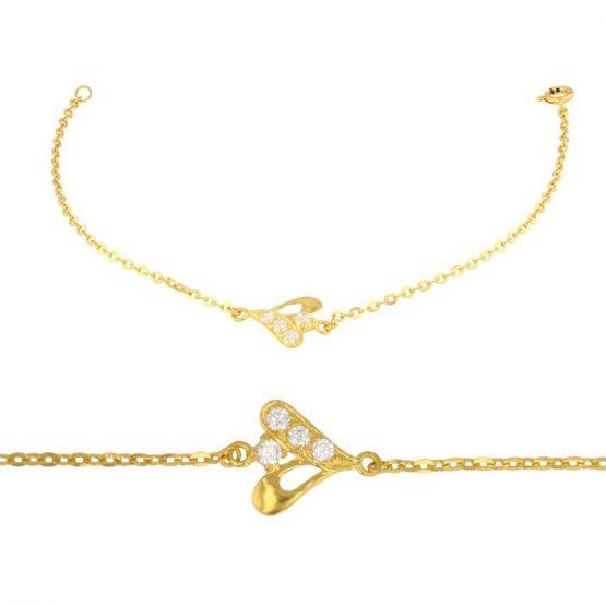 Ladies Bracelet Fancy Design 22ct Yellow Gold With CZ Stone 04