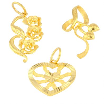 22ct Yellow Gold Ladies Pendants – Fancy Design / Floral & Heart Shape Bundle 01