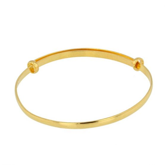 22ct Yellow Gold Baby Bangle - Plain (Adjustable) 01