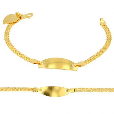22ct Yellow Gold Baby Bracelet with Plate 01