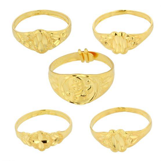 22ct Yellow Gold Baby Rings - Mixed Design Bundle 01