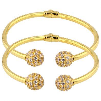 Fancy Ball Design Bangle 22ct Yellow Gold with Rhodium / Plain Gold Unisex Bundle 01