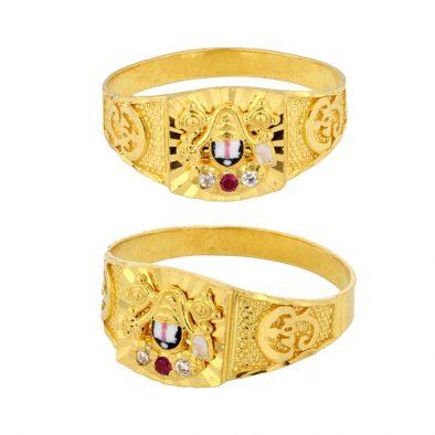 22ct Yellow Gold & CZ Stones Men's Ring – Lord Balaji Design 01